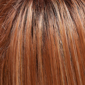 Jon Renau | FS26/31S6 SALTED CARAMEL | Medium Natural Red Brown with Red Gold Blonde Bold Highlights, Shaded with Brown