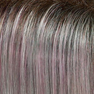 Jon Renau Wigs | Flurry | Dark Natural Gold Brown with 35% Grey with Bold Plum Highlights. Shaded with Medium Brown