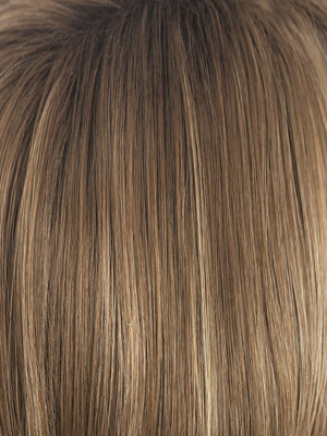 Noriko Wigs | HONEY WHEAT-R | Medium Brown and Light Ash Brown Blend with Ash Blonde Highlights and Darker Rooting