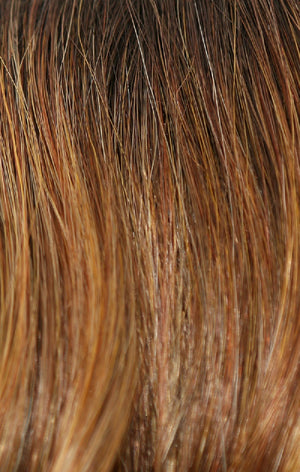 Amore Wigs | HONEY-BROWN-R | Dark Roots on a Warm Medium Brown base with Auburn and Honey highlights