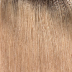 BelleTress Topper | Honey Chai Root (11R/88B/613)  A blend of Sienna Brown and cool medium brown root with mixture blend of honey blonde, light blonde, smoky blonde with a hint of pure blonde