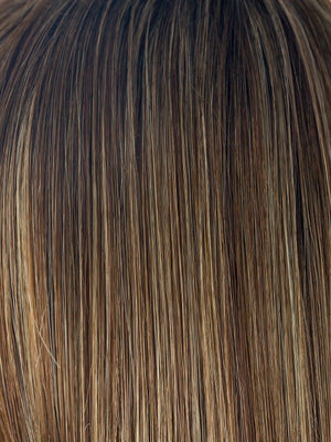ICED MOCHA R | Dark Brown with Medium Brown Base Blended with Light Blonde highlights with Dark Brown roots