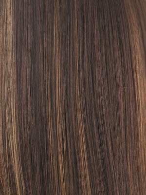 Rene of Paris Wigs | JAVA FROST | Dark Brown base with Gold Blonde and Light Auburn evenly blended highlights