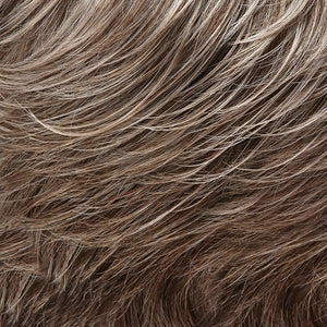Bree Open Top Wig by Jon Renau LIGHT ASH BROWN W 75% GREY FRONT & MED BROWN W 35% GREY NAPE (39F38)