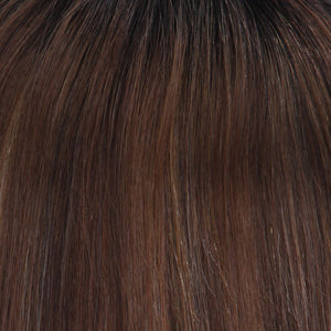 BelleTress Topper | Mocha Cream (2R/613/30/6)  A rich darkest brown root with a blend of dark chocolate brown and cinnamon along with milk chocolate, cool blonde and light blonde highlights