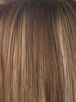 Noriko Wigs | MAPLE SUGAR R | Rooted Dark with Light Honey Brown base with Strawberry Blonde highlights