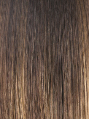 Amore Wigs | MARBLE-BROWN-LR | Medium Brown blended with Light Honey Brown and Long Dark Brown roots
