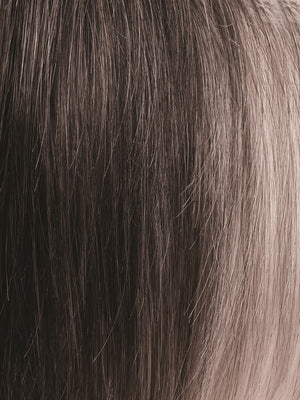 Rene of Paris Wigs | MIDNIGHT-PEARL | Dark Brown base with Dark Brown and Silver blend with Silver bangs
