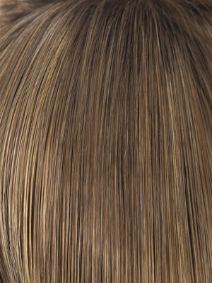 Rene of Paris Wigs | Mochaccino-LR | Light Ash Brown and Light Honey Brown Blend with Soft Gold Blonde Highlights and Longer Medium Brown Rooting