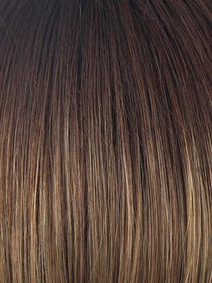 MOCHACCINO-LR | Dark with light brown base and strawberry blonde highlights with Longer Roots