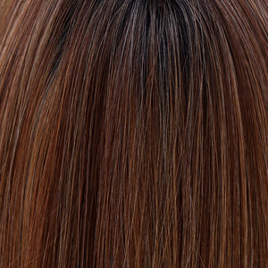 BelleTress Wigs | Mocha with Cream | 2R/613/30/6 | A rich darkest brown root with a blend of dark chocolate brown and cinnamon, along with milk chocolate, cool blonde and light blonde highlights