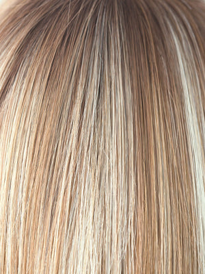 Noriko Wigs | NUTMEG F | Rooted Dark with Honey Brown base with Platinum Blonde highlight