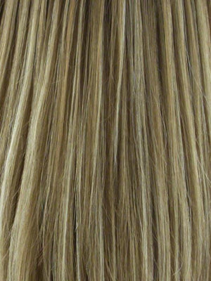 Noriko Wigs | NUTMEG R Rooted Dark Honey Brown Base with Strawberry Blonde Highlights