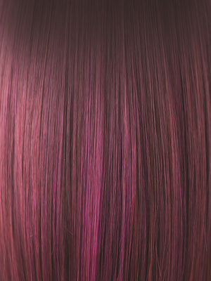 Noriko Wigs | PLUMBERRY JAM-LR | Medium Plum Ombre rooted with 50/50 blend of Red / Fuschia