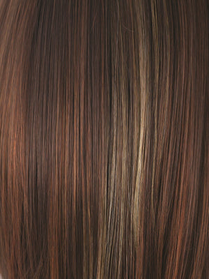 Noriko Wigs | RAZBERRY ICE R | Rooted Dark Medium Auburn base with Copper and Strawberry Blonde highlights