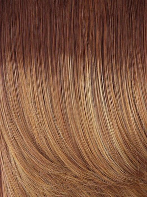 Raquel Welch Wigs | SS14/25 HONEY GINGER | Dark Strawberry Blonde Blended With Pale Gold Blonde and Medium Brown Roots