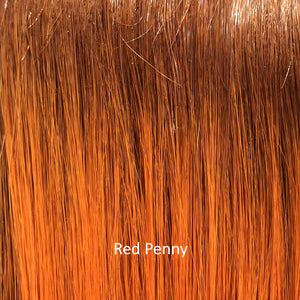 BelleTress Wigs | Red Penny | a mixture of medium and light brown roots, and the mixing of golden copper, rosy copper, and apricot