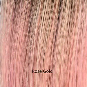 BelleTress Wigs | Rose Gold | a beautiful shimmering blend of blondes, pink, with a soft light brown roots