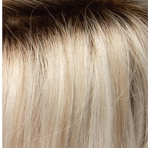Estetica Wigs | SILVERSUNRT8 | ICED BLONDE DUSTED WITH SOFT SAND AND GOLDEN BROWN ROOTS