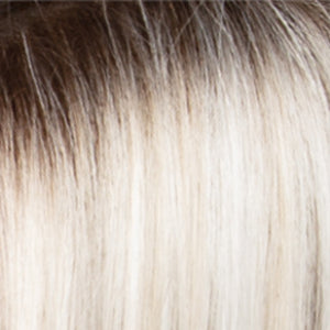 Estetica Wigs | SILVERSUNRT8 | Iced Blonde Dusted with Soft Sand & Golden Brown Roots