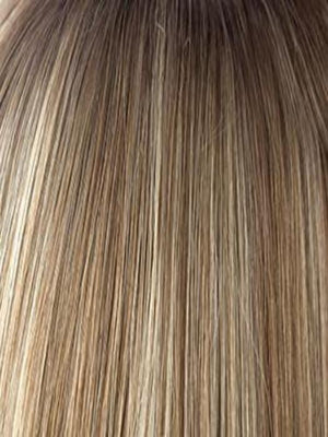 Noriko Wigs | SPRING HONEY-R | Honey Blonde Evenly Blended with Gold Platinum Blonde with Dark Brown roots