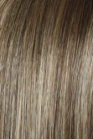 Raquel Welch Wigs | SS12/22 SHADED CAPPUCCINO | Light Golden Brown Evenly Blended with Cool Platinum Blonde Highlights and Dark Roots