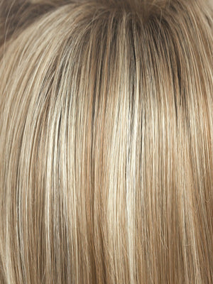SUGAR CANE R | Platinum Blonde and Strawberry Blonde Evenly Blended Base with Light Auburn highlights with Dark Brown roots
