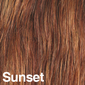 Dream USA Wigs | SUNSET  Light Auburn (32) blended with Medium Chestnut Brown (6) and with Burgundy (33) frosted with Butterscotch Blonde (88B)