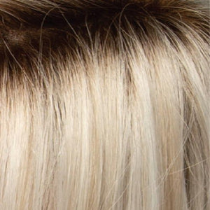Estetica Wigs | SILVERSUNRT8 | ICED BLOND DUSTED WITH SOFT SAND AND GOLDEN BROWN ROOTS