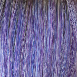 BelleTress Wigs | Stardust | features a blend of 8 different shades of lavender and lilac with a medium and light brown mixture of roots