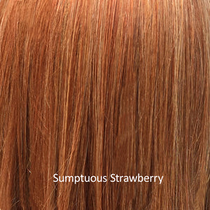 BelleTress Wigs | Sumptuous Strawberry | a hybrid of pure red, strawberry blonde, hint of paprika, and honey with some copper undertone with medium brown root colors, and honey blonde hues
