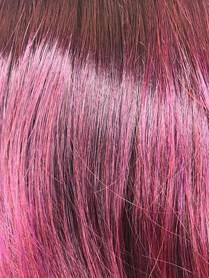 Noriko Wigs | Plumberry Jam R | Medium Plum Ombre rooted with 50/50 blend of Red/Fuschia