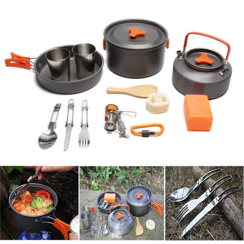 14 Piece Camping Cookware Kit - 14 Piece Camping Cookware Kit - Gadget