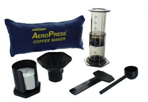 Travel Coffee Maker Kit : Aerobie Aeropress with Tote Bag Denim Coffee Company