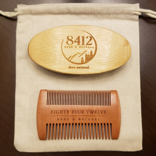 8412 Bare & Natural 8412 Bare and Natural 8412 Beard Grooming Kit Best Beard Grooming Kit Local Beard Grooming Kit Wood Beard Grooming Kit Wood comb Wooden comb Wooden brush Boar Bristle Brush