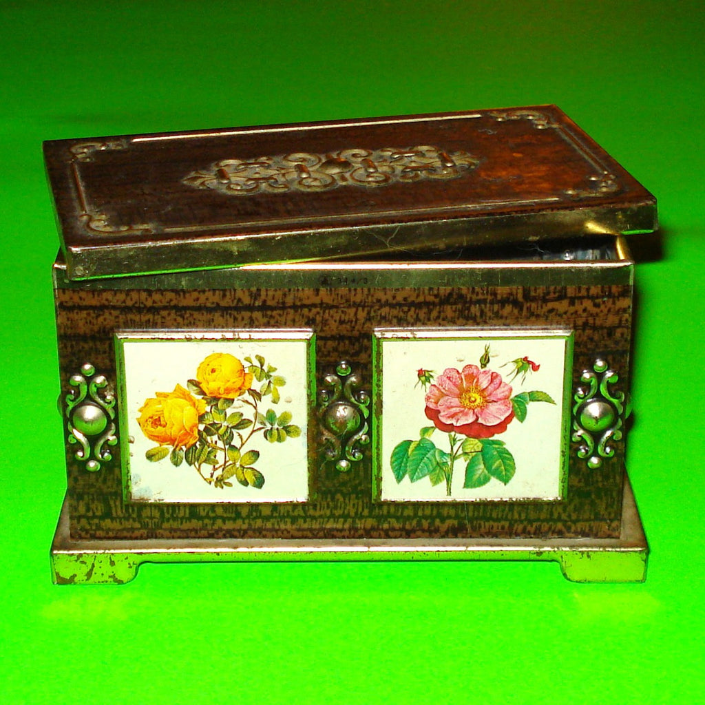 Woodgrain Flower Panel Stash Tin