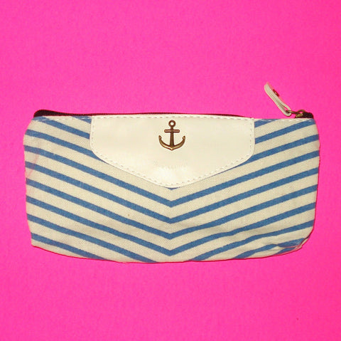 Anchor Stripe Zippered Pouch