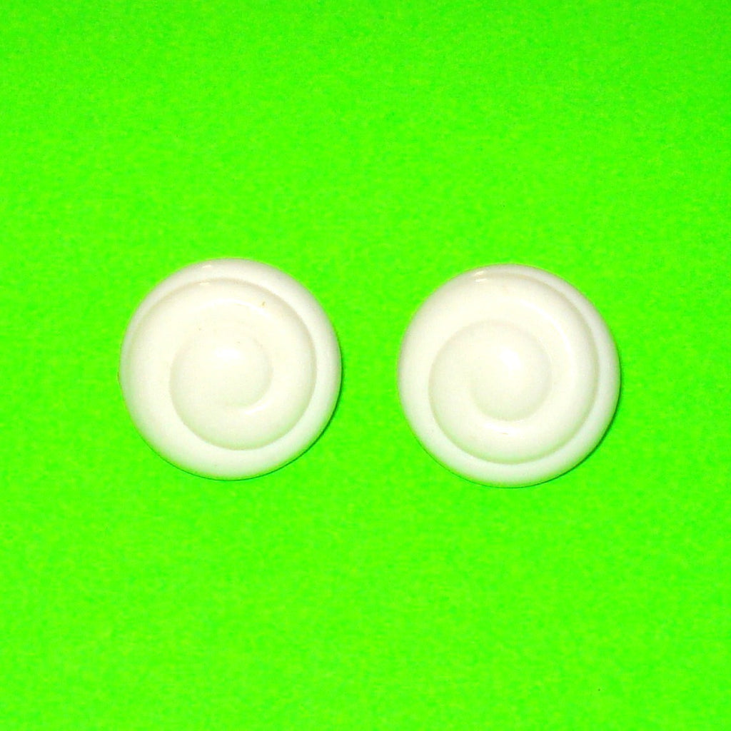 Swirl White Button Earrings