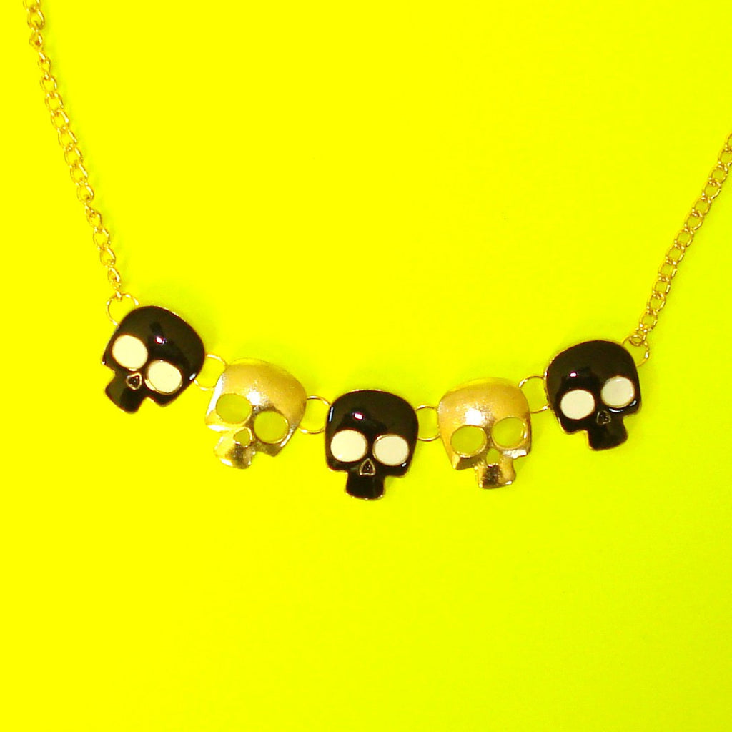 Five Skulls Necklace