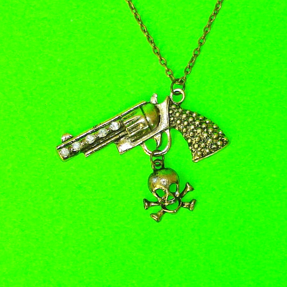 Gun & Skull Necklace