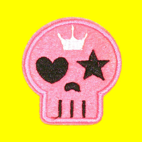 Girly Skull Patch - Pink