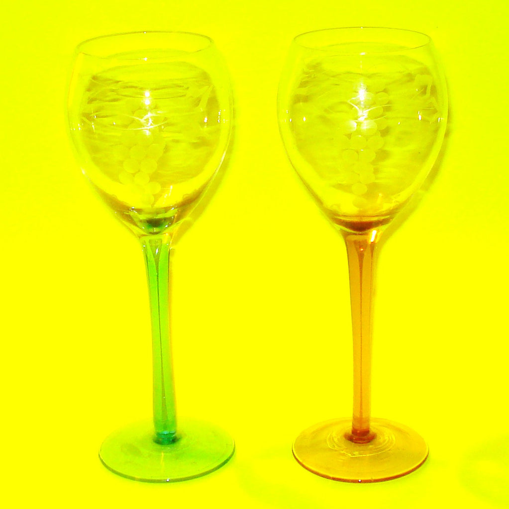 Etched Wine Glasses - Set of Two