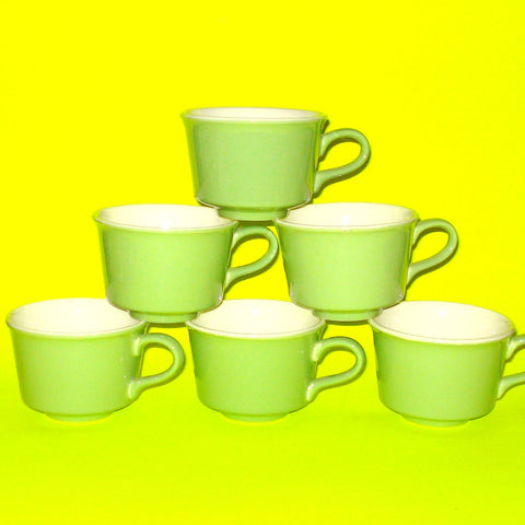 Apple Green Coffee Cups - Set of Six
