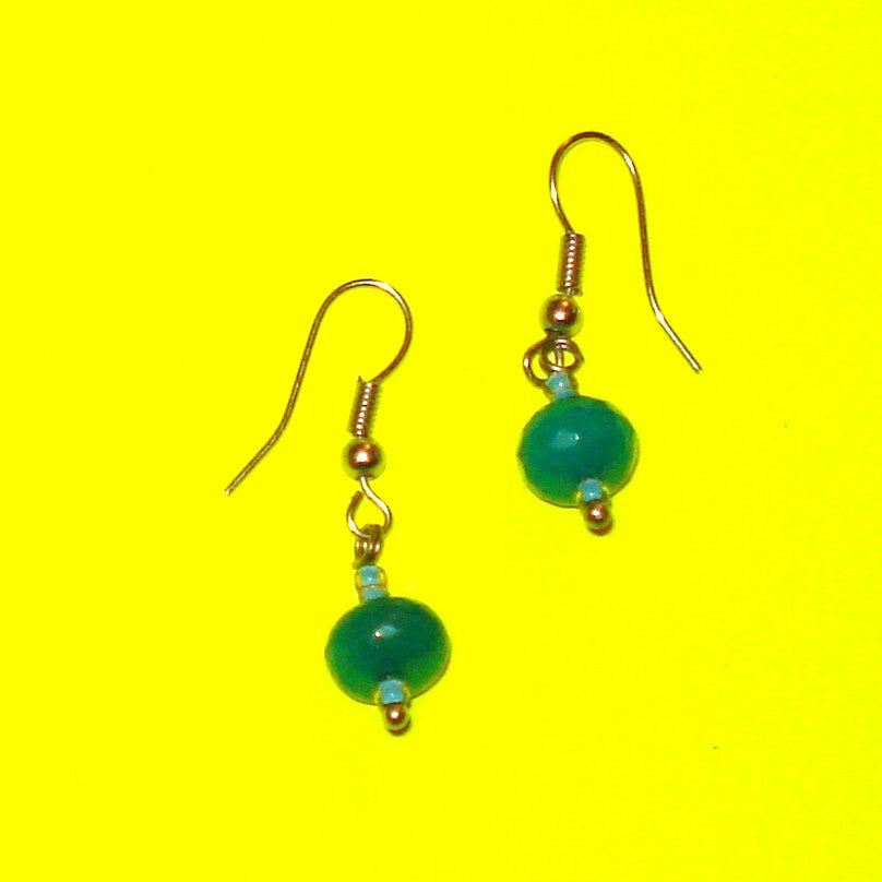 Aqua Blue Beaded Drop Earrings