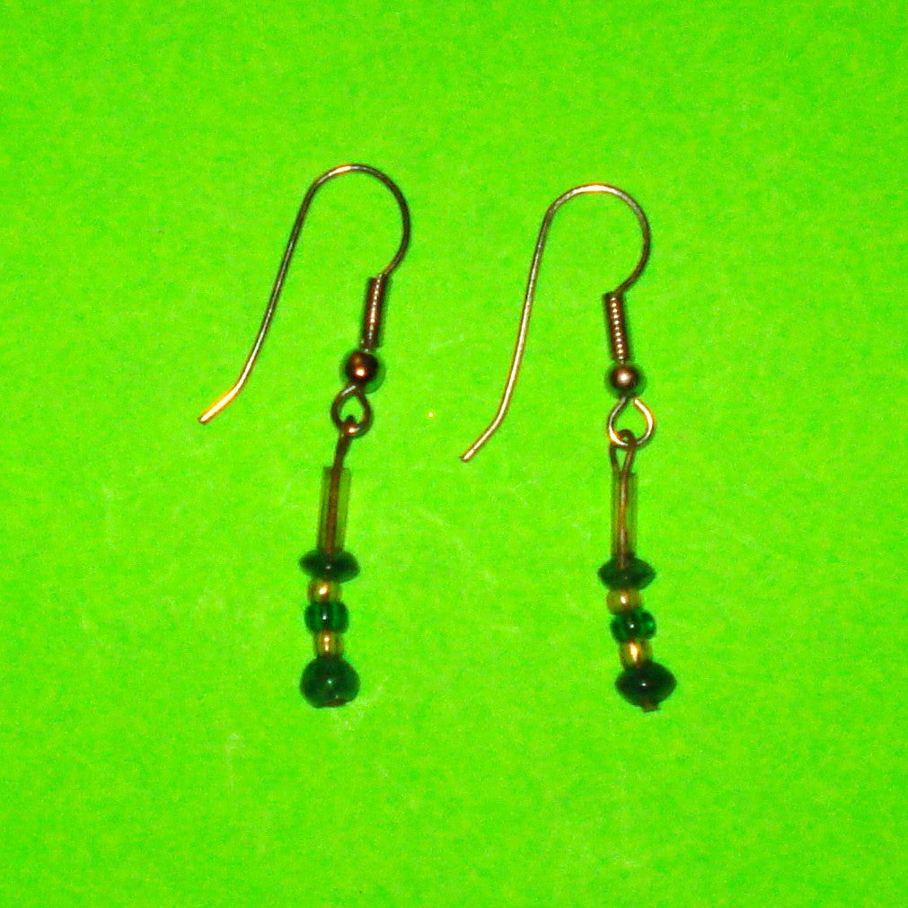 Green Beaded Drop Earrings