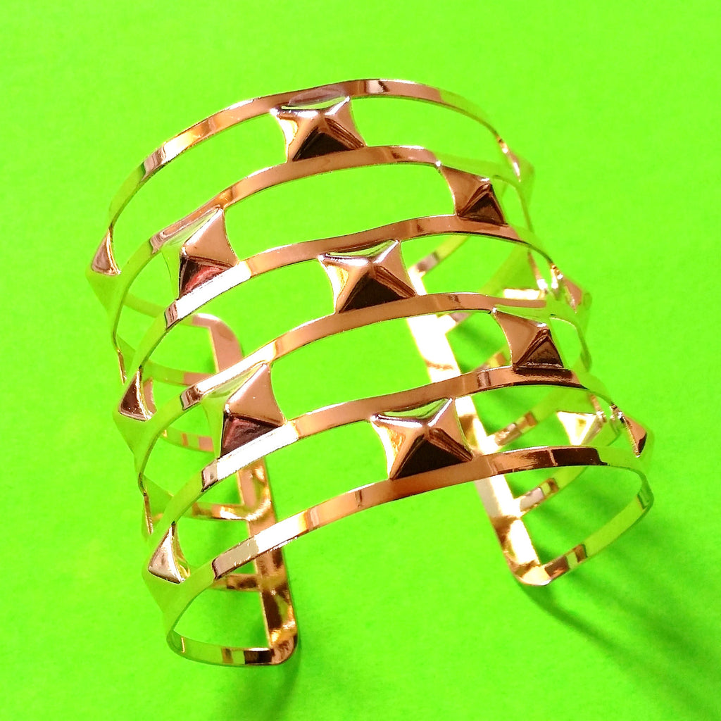 Pyramid Spikes Wide Cuff
