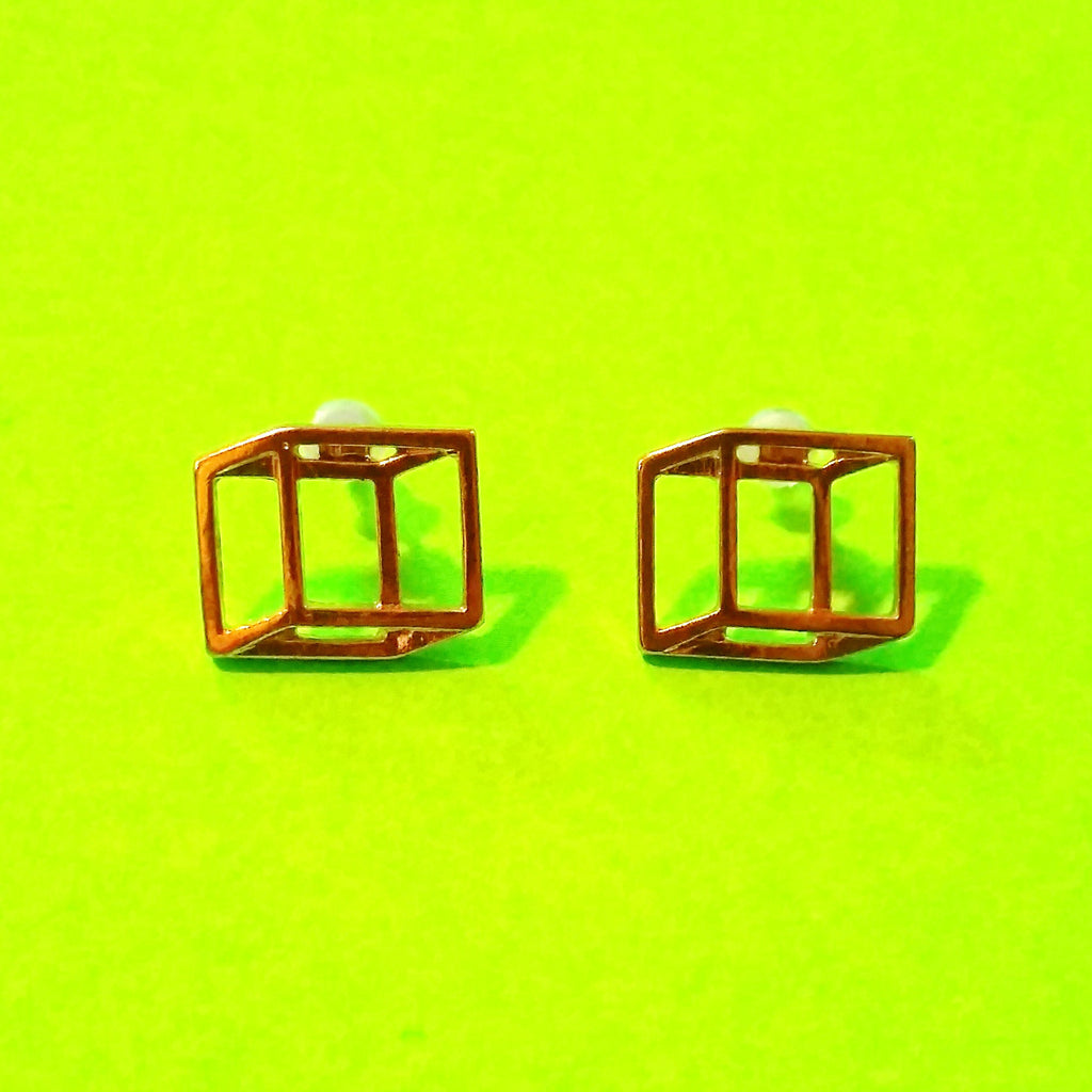 Cubist Earrings - Gold or Silver