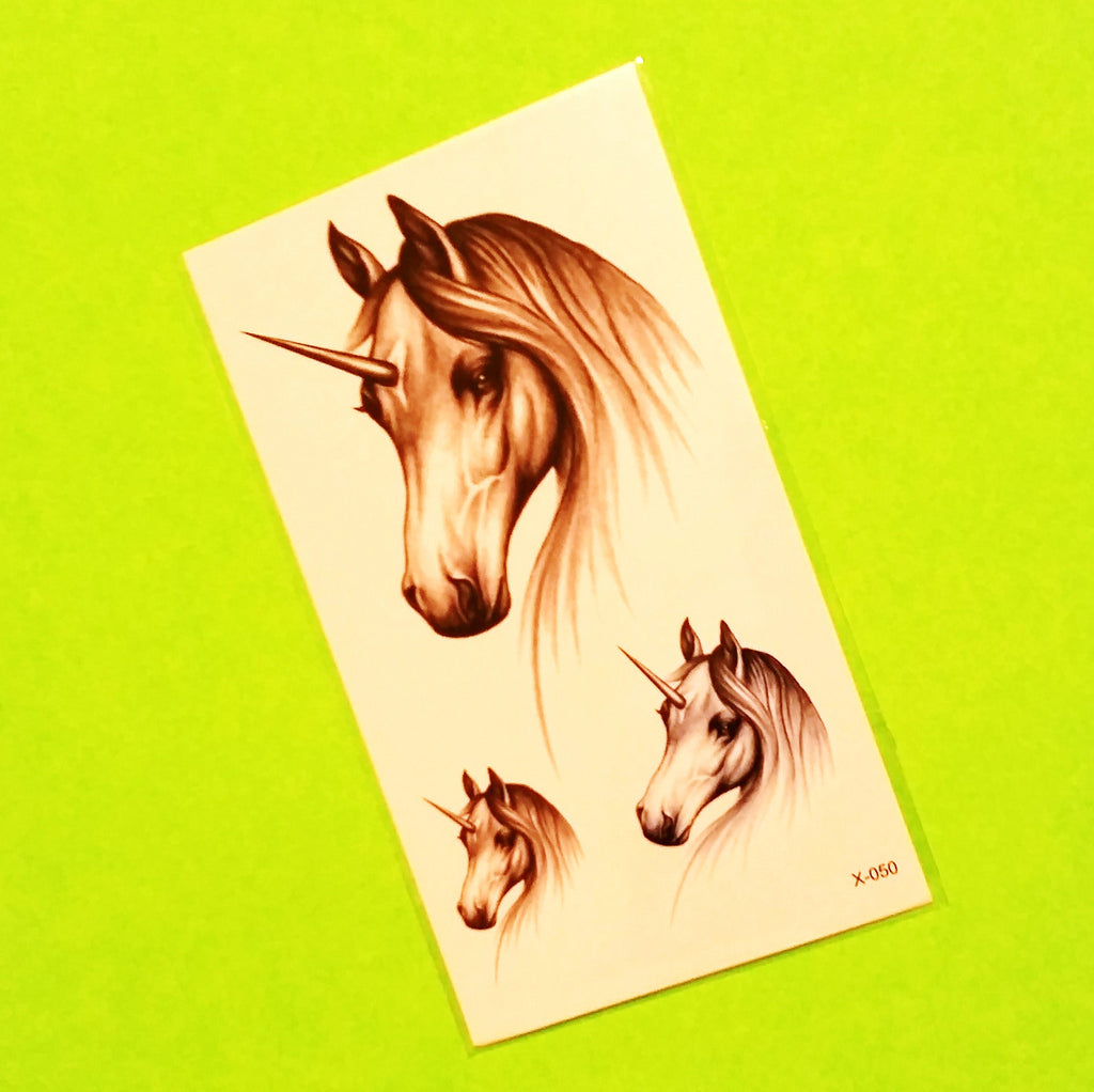 Unicorn Trio Temporary Tattoo