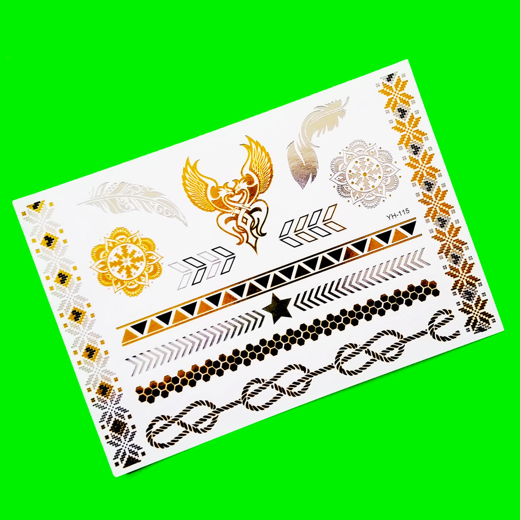 Tribal Dragons Metallic Temporary Tattoo