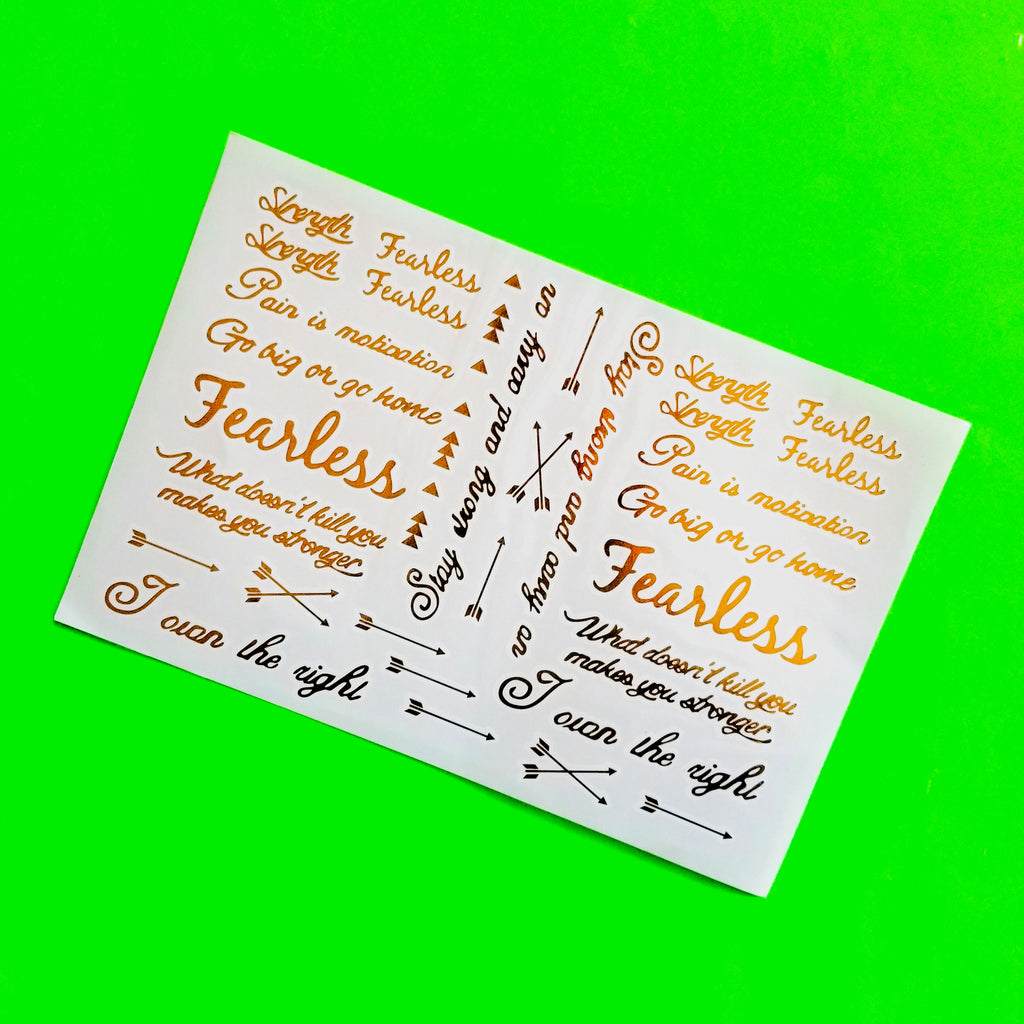 Fearless Metallic Temporary Tattoo